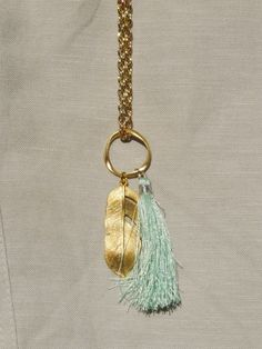 Green Silk Tassel and Gold Feather Pendant Necklace by NokoDesigns