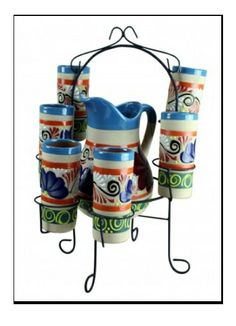 Raised Talavera Pitcher with vases #pottery #homedecor #decor #vases #talavera