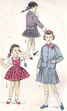 MissBettysAttic 1950's Girls two piece suit vintage sewing pattern, Pleated Skirt and Blazer Jacket. Advance 8154 Girls size 8 uncu