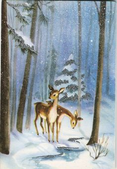 Vintage deer in the snow