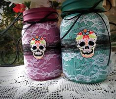 Painted mason jars, decorated lace mason jars, day of the dead decor, distressed mason jars Halloween Themes, Fall Halloween, Halloween Crafts, Halloween Decorations, Halloween Party, Lace Mason Jars, Distressed Mason Jars, Painted Mason Jars, Mason Jar Projects