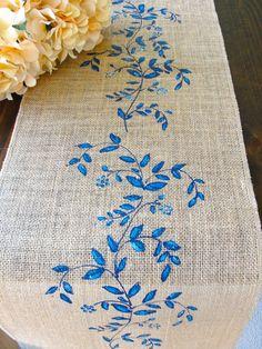 FLORAL TABLE RUNNER BLUE WHITE POLKA DOT ROSE AZURE SHABBY /'N/' CHIC BED RUNNER