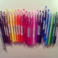 These pens are pilot frixion gel pens.  You can erase them. And they don't leave erase dust behind, plus they erase away completely. They come in markers, pens, and highlighters.  You have to use special erasers but they are amazing!""