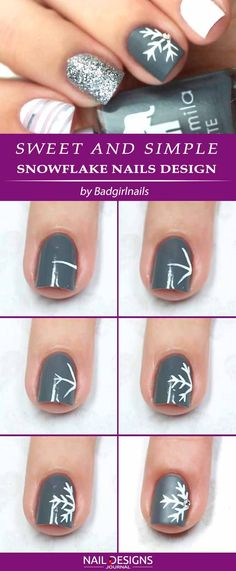 Best Tutorials on Snowflake Nails Designs Gelegentliche Nageldesigns to do Snowflake Nails Best Tutorials on Snowflake Nails Designs - Nagel Kunst Snowflake Nail Design, Snowflake Nails, Christmas Nail Art Designs, Simple Snowflake, Snowflakes Art, Christmas Snowflakes, Xmas Nails, Holiday Nails, Diy Christmas Nails Easy