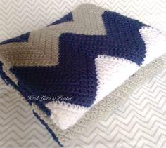 Crochet Baby Blanket Baby Boy Blanket Baby by HookYarnAndHooper