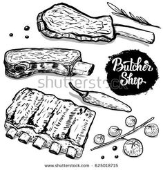 set of hand drawn beef ribs with spices. Design elements for poster, menu, flyer. Wall Drawing, Food Drawing, Carnicerias Ideas, Meat Store, Rib Meat, Bbq Menu, Food Menu Design, Food Cartoon, Farm Logo
