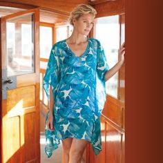 Turquoise Floral Cover-Up