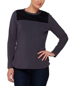 Another great find on #zulily! Charcoal Gray Faux Suede-Yoke Knit Top - Plus Too #zulilyfinds