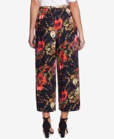 Catherine Catherine Malandrino Wide-Leg Floral-Print Pants - Ethereal Gdn Blk XL