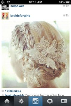 Bridal Hair - 25 Wedding Upstyles & Updo's - An enchanting side braided upstyle with dazzling hair accessory creates an ethereal look Would also be pretty for bridesmaids (minus the hair piece). Up Hairstyles, Pretty Hairstyles, Bridal Hairstyles, Hairstyle Ideas, Medium Hairstyles, Short Haircuts, Bridesmaid Hairstyles, Hairstyle Short, Winter Wedding Hairstyles