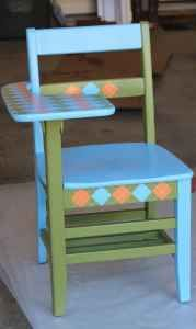 I painted these solid wood school desks in various color combos. Selling for $200 each.