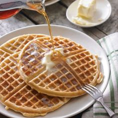 Old-Fashioned Buttermilk Waffles---finally! Thin waffles like mom used to make. What's For Breakfast, Breakfast Dishes, Breakfast Recipes, Country Breakfast, Breakfast Waffles, Mexican Breakfast, Pancake Recipes, Breakfast Sandwiches, Buttermilk Waffles
