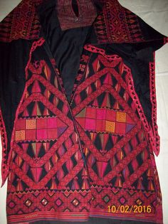 PALESTINIAN DRESS FROM GAZA AREA & DEIR AL-BALAH SILK HAND EMBROIDERY