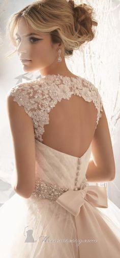Embellished Pleated Strapless Gown by Bridal by Mori Lee #bride #wedding #back <3