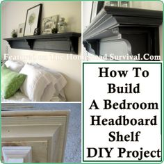 How To Build A Bedroom Headboard Shelf DIY Project | http://thehomesteadsurvival.com/how-to-build-a-bedroom-headboard-shelf-diy-project/