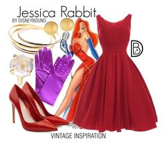 """""""Jessica Rabbit"""" by leslieakay ❤ liked on Polyvore featuring Cartier, Mémoire, Alexander McQueen, Ippolita, vintage, disney, disneybound and disneycharacter"""