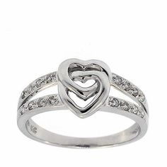 0.20 Cttw IGL Certified Round Diamond Linked Hearts Cocktail Ring 14K White Gold #Cocktail