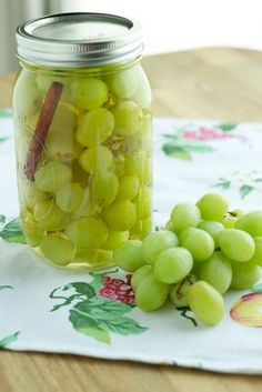 Pickled grapes that have been pickled in sugar, white wine vinegar, cinnamon stick, and salt. The sugar balances out the tanginess from the vinegar for a delicious flavored grape.