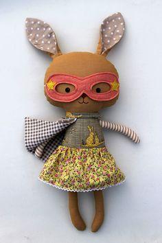 Superhero bunny by La loba Studio #bunny #rabbit #softtoy #plush #easterdecor