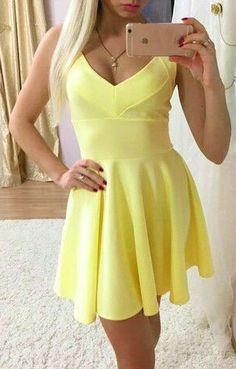 Slim V-neck Sleeveless Short Dress