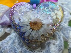 Large Organic Floral & Shell Large Heart Orgone Energy Pendant by…