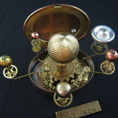 An intricate Pocket Orrery! Smaller than 3 inches and stationary. The gears are placed only to imply movement.