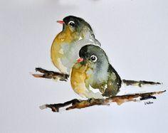 ORIGINAL pintura de acuarela pájaro y rosa flores por ArtCornerShop