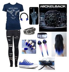 """Nickelback"" by jackyxshadows ❤ liked on Polyvore featuring mode, Forzieri, Converse, 2LUV et cutekawaii"