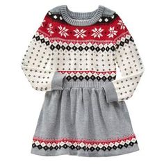 This Gray & Red Fair Isle Sweater Dress - Girls by Gymboree is perfect! Toddler Girl Dresses, Toddler Outfits, Kids Outfits, Girls Dresses, Summer Dresses, Toddler Girls, Amanda, Girls Sweater Dress, Baby Frocks Designs