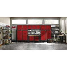 Gladiator Premier Series Pre-Assembled 66 in. H x 102 in. W x 25 in. D Steel Garage Cabinet Set in Racing Red Tread - The Home Depot Garage Wall Shelving, Garage Storage Cabinets, Garage Organization, Organized Garage, Organizing, Built In Storage, Locker Storage, Bike Storage, Tool Storage