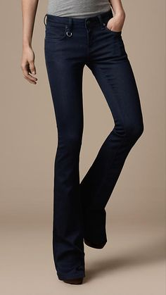 Burberry Indigo stretch denim boot cut jeans with mid-rise