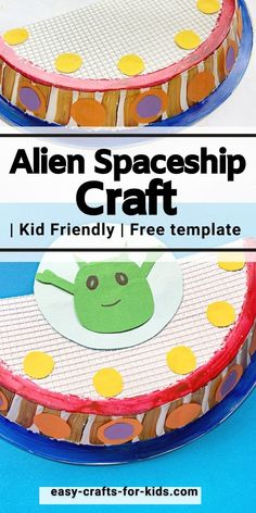 Alien Spaceship Craft with Paper Plate Space Activities For Kids, Space Crafts For Kids, Paper Plate Crafts For Kids, Easy Crafts For Kids, Crafts To Do, Paper Crafts, Spaceship Craft, Alien Spaceship, Epic Kids