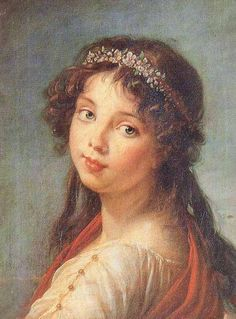 """Vigee Le Brun ART Page 39_daughter Julie Le Brun-1789 Oil on Canvas, 17-1/4"""" x 13-3/4"""" Pinacoteca Nazionale, Bologna  Vigee Le Brun visited Parma, Bologna, Turin and Florence in 1789, returning in 1792 after spending 1790-91 in Rome and Naples. It is possible that this was painted on her second trip, in 1792, but it seems more likely that it was done when she was elected to the Academy of Bologna on 3 November 1789.""""In gratitude towards the Bolognese, one of her hosts in Italy, she presented…"""