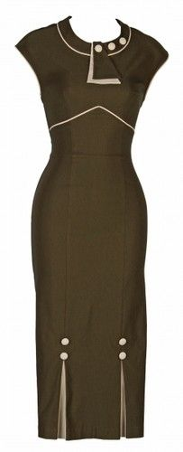 Stop Staring 30's Bombshell Army Green Dress