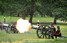 The King's Troop Royal Horse Artillery fire a salute in Green Park after the Queen's Birthday Parade