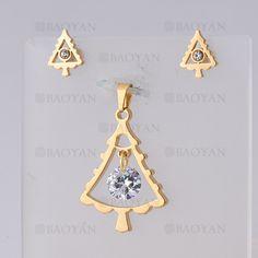 juego dije con aretes de arbol de navidad con cristal de dorado en acero- SSSTG954663