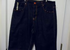 Very cool looking pair of denim shorts with silver studded, white stitching, and leather accents. Id - sy300aya1214