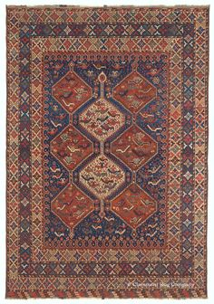 Persian Qashqai rug, 5ft 9in x 8ft 2in, late 19th Century, Claremont gallery