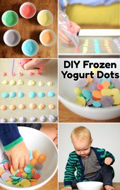 Frozen yogurt dots. → Materials: yogurt, sandwich bag, and food coloring.