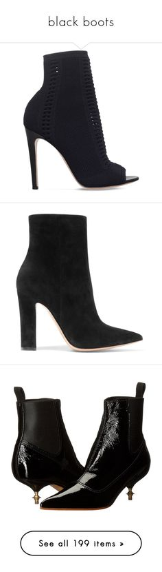 """black boots"" by iriskatarina ❤ liked on Polyvore featuring shoes, boots, ankle booties, heels, ankle boot, peep toe ankle booties, leather booties, peep-toe ankle booties, peep toe heel booties and leather boots"