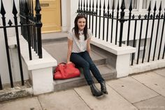 New outfit post on my blog: cut-out polka dot print shirt + skinny waxed jeans + zip-detail Chelsea boots + bright statement bag.