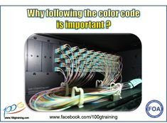 It is important to follow the fiber color code when splicing or installing the connectors to the panel as shown in picture.   If the color format is not followed accordingly from one end to the other end of the installation, you will FACE CONTINUITY AND POLARITY ISSUES. There will be a mix-up of the ports and you have to spend time to troubleshoot and rectify them.  Following the code helps you save time, better cable management and reduce human errors. This KSA sharing comes from 100G Training. Computer Hardware, Cable Management, Fiber Optic, Knowledge, Coding, Technology, Training, Color, Menu