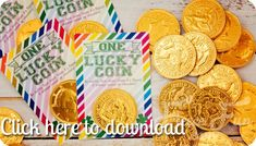"""This free St. Patrick's day printable says """"One Lucky Coin. No matter how it's flipped it always comes up chocolate! Chocolate Gold Coins, Expensive Chocolate, Kids Up, Gold Diy, Glue Dots, Little Boxes, Small Boxes, St Patricks Day, Free Printables"""
