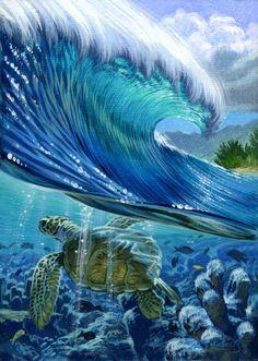 "Baby Sea Turtle Fine art print ""Turtle Reef"" - Island Collection by Phil Roberts Art Plage, Underwater Painting, Turtle Painting, Wave Art, Sea Art, Seascape Paintings, Fish Art, Ocean Waves, Cool Art"