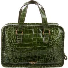 Pre-owned Prada Alligator Handle Bag (4,855 SAR) ❤ liked on Polyvore featuring bags, handbags, green, preowned handbags, hand bags, prada handbags, man bag and green handbags