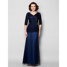 Lanting Bride® Sheath / Column Plus Size / Petite Mother of the Bride Dress Floor-length Half Sleeve Chiffon / Tulle withAppliques / – USD $ 89.99