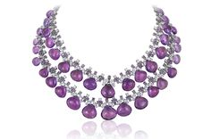 Tiered Amethyst Briolette and Diamond Necklace