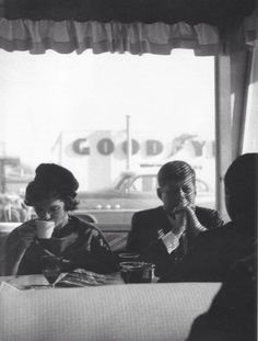 John F. And Jacky Kennedy in a diner