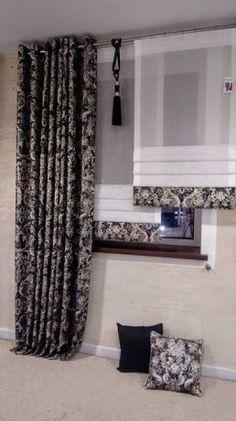 199 zł: PODANA CENA DOTYCZY 1 KOMPLETU (3 SZTUK) PANELI WIDOCZNYCH NA ZDJĘCIU Przedmiotem aukcji jest przepiękny komplet śmietanowych paneli, tkanina z błyszczącą nitką, na dole paneli 3 brzuszki imitując... Living Room Decor Colors, White Curtains, Roman Blinds, House Design, Windows, Black And White, Home Decor, Curtain Patterns, Yurts