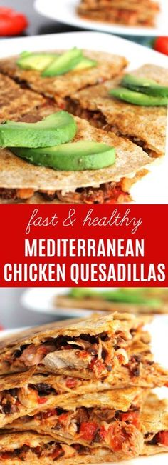 Chicken Mediterranean Quesadillas | Shredded chicken breast, roasted red peppers, kalamata olives, a touch of red onion, & meltedparmesanbetween two tortillas. Make the filling in big batches for a super easy freezer meal! Read on for my Paleo, gluten-f